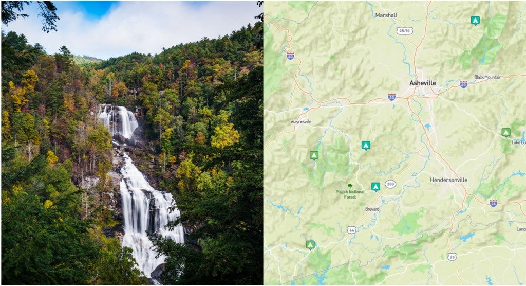 a waterfall in north carolina and a map of campgrounds near waterfalls in north carolina