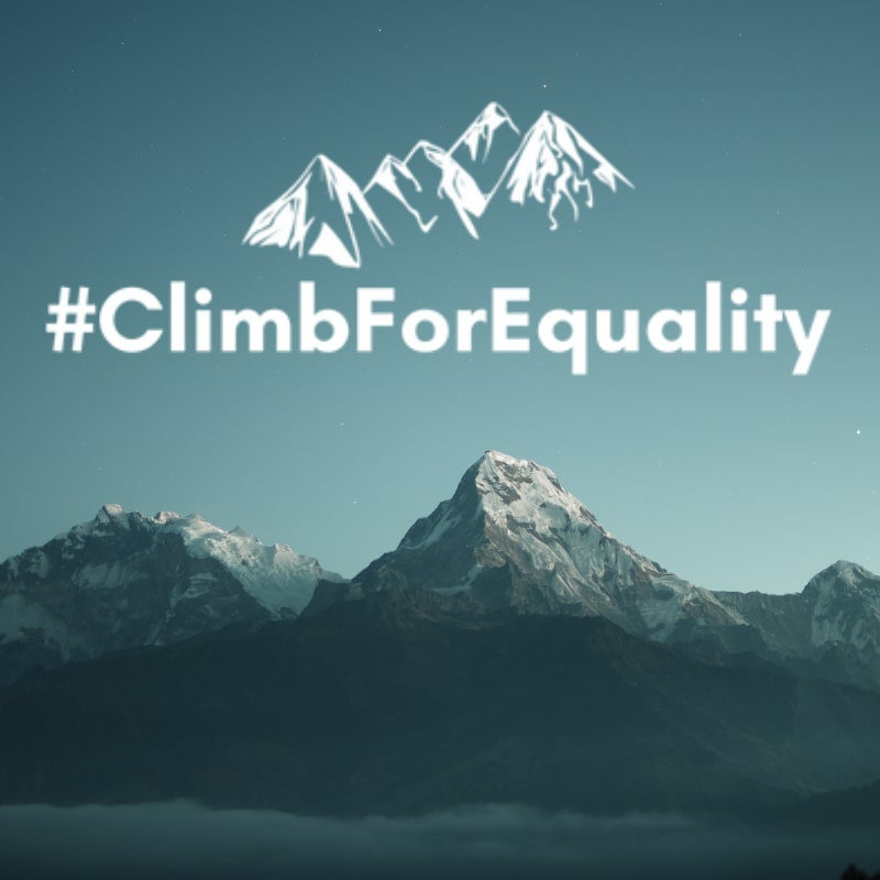 a landscape view of the mountains with climb for equality written over them
