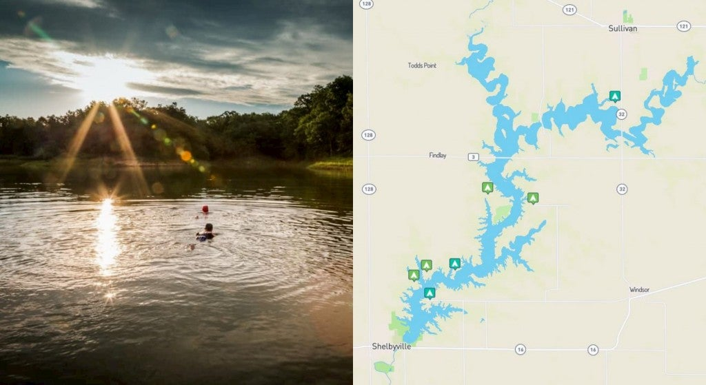 split image with sun rising over lake with 2 swimmers on left and on the right is a map of campgrounds on lake shelbyville