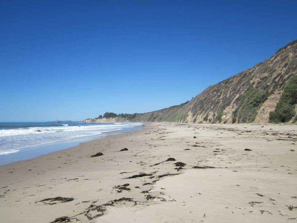 Sand beach and blue sky on california coast