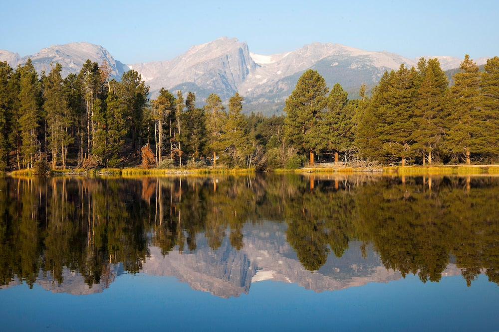 Panoramic view of mountains reflecting in water