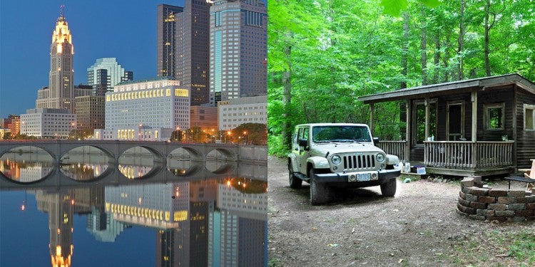 (left) Columbus, OH skyline reflecting on water at dusk (right) white Jeep parked outside of Ohio camping cabin