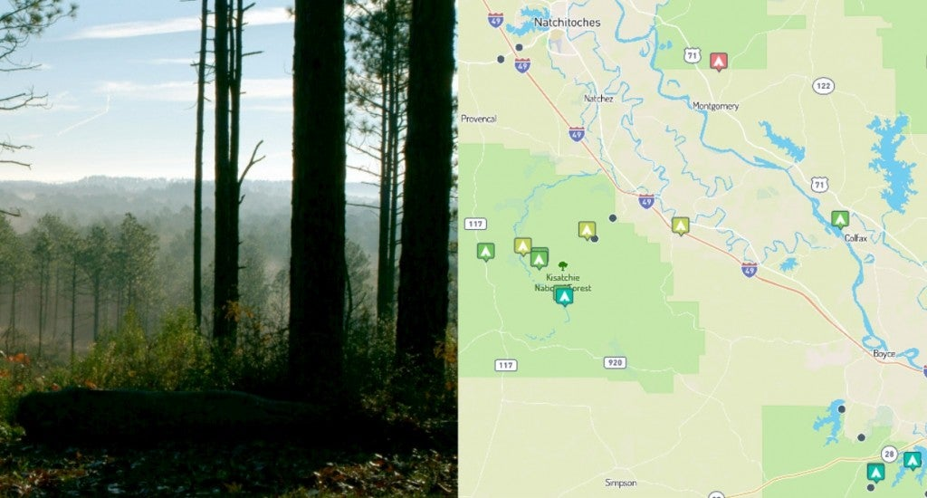 (left) wooded overlook in kisatchie national forest (right) campgrounds in the forest, mapped on the dyrt