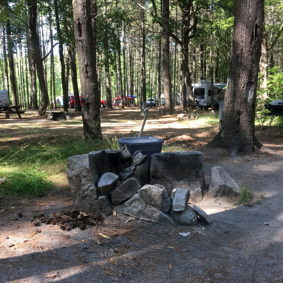 Fire pit in wooded campground with dispersed tents and car.