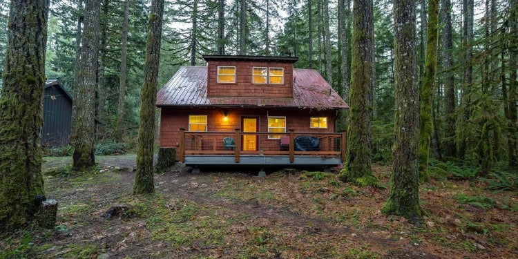 a cozy cabin surrounded by trees on mt. baker