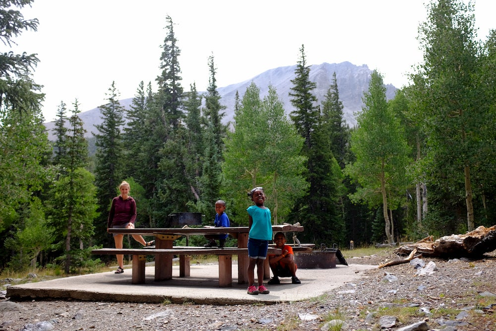 3 kids and a woman standing at a picnic table with trees and mountains in the background