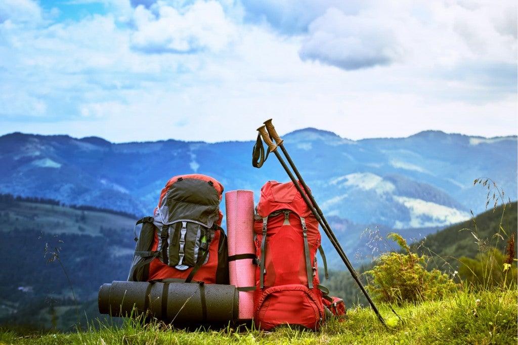 two backpacks, trekking poles, and other cheap backpacking gear sit in grass with mountains in the background