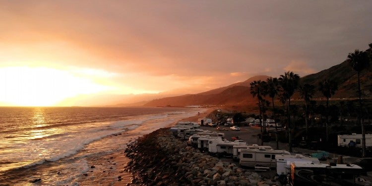 overlooking santa barbara rv park on the ocean coast at sunset