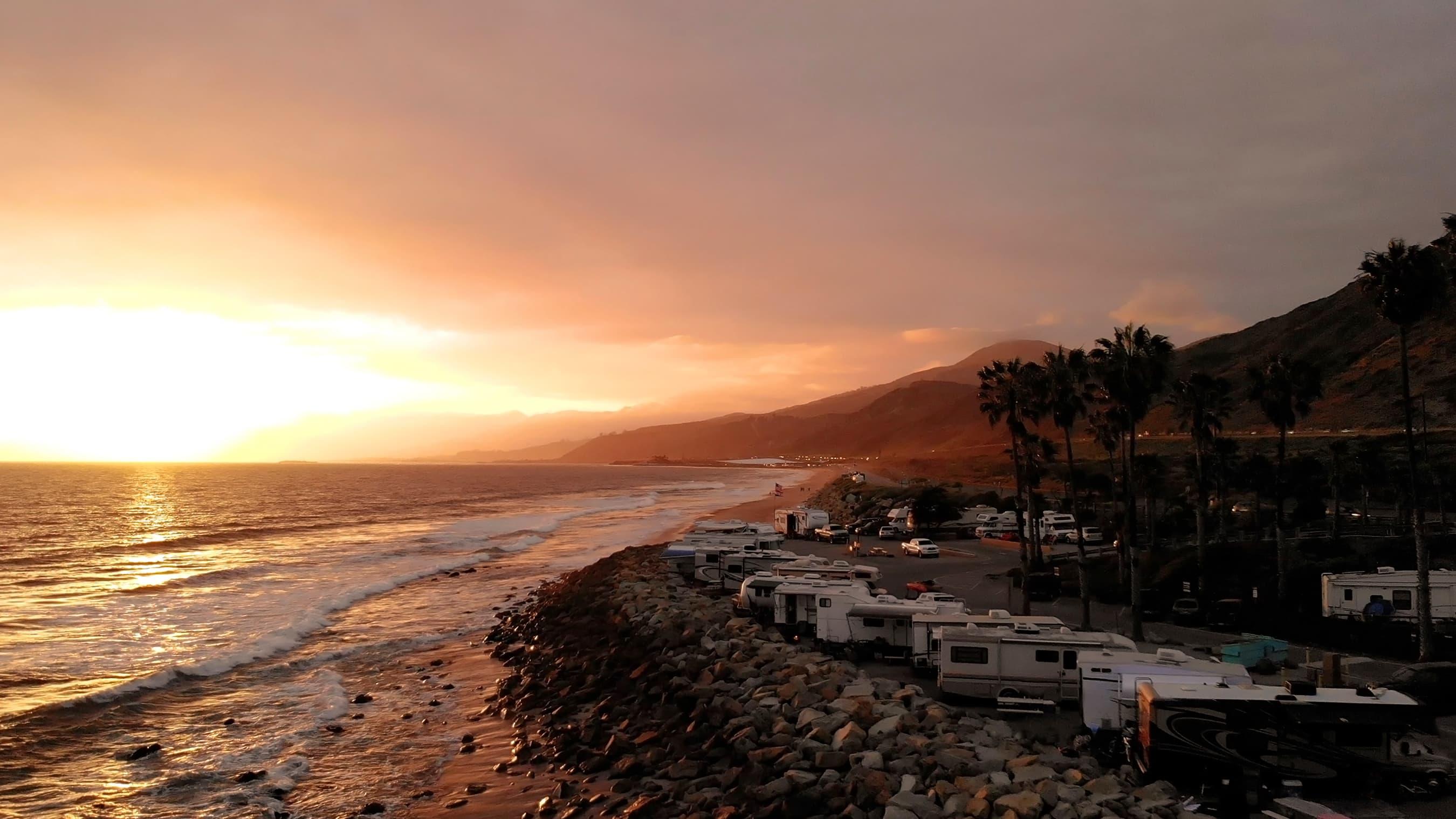 overlooking santa barbara rv park on the ocean coast at sunset