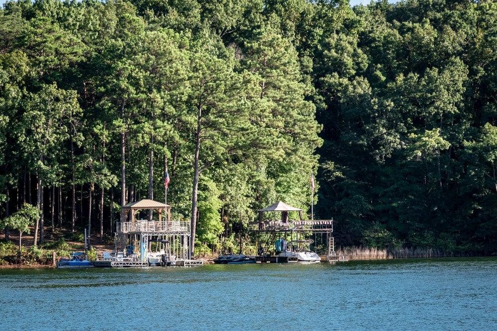 Buildings in lake