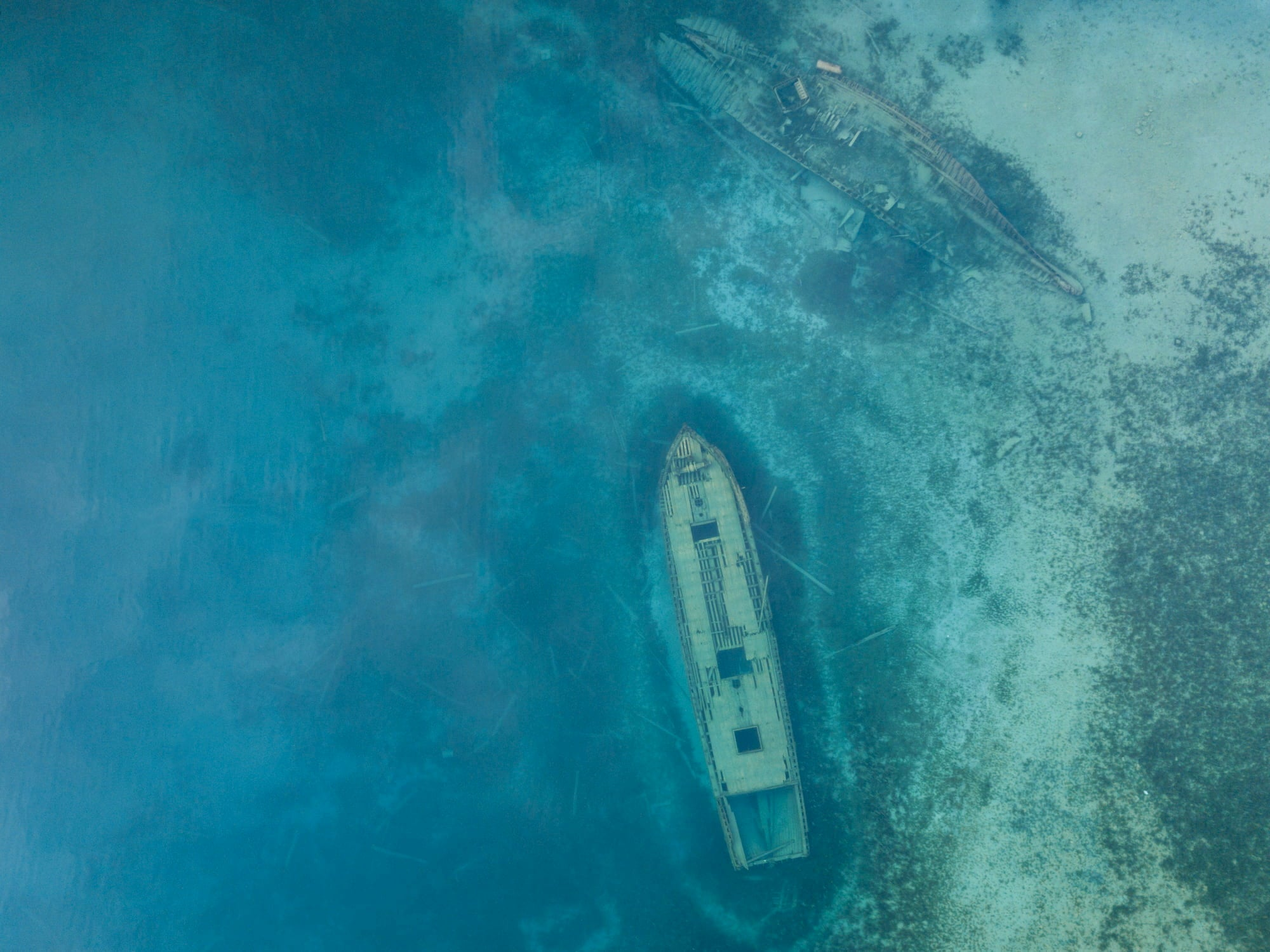 Aerial image of schooner shipwrecks in the great lakes.