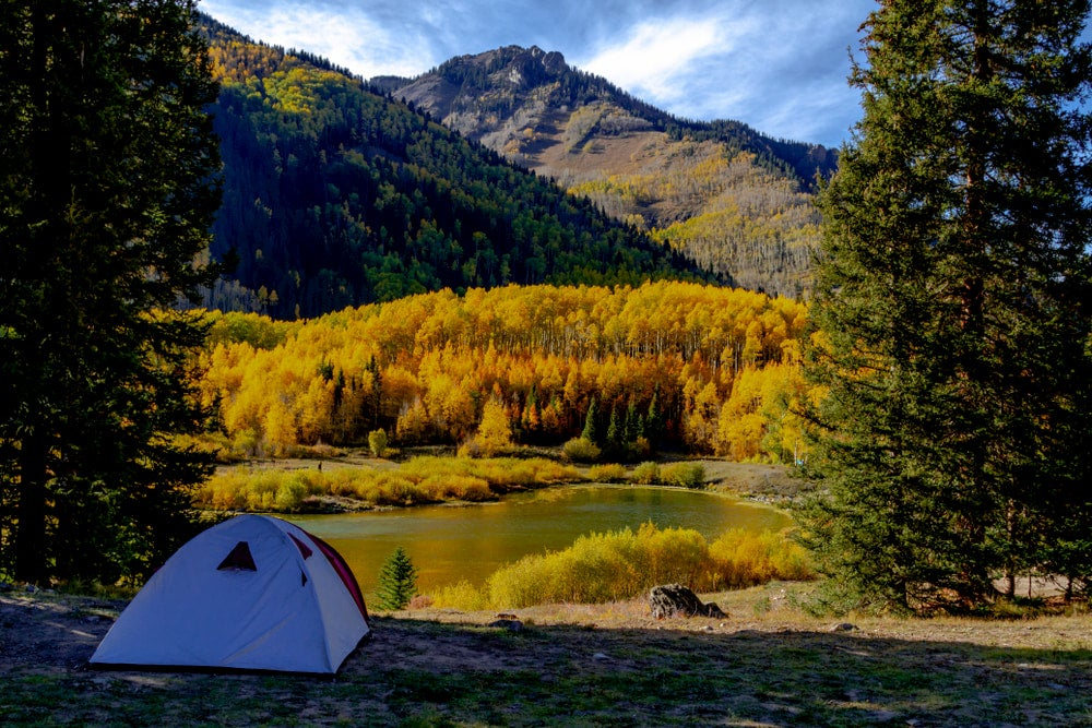 Campsite beside alpine lake in Ouray, CO.
