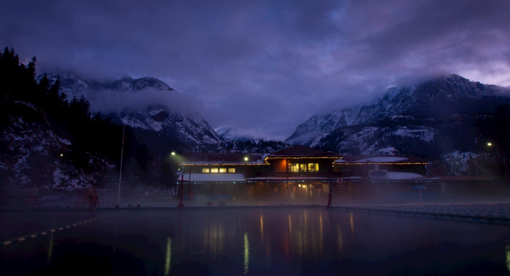 Ouray Hot Springs at night.