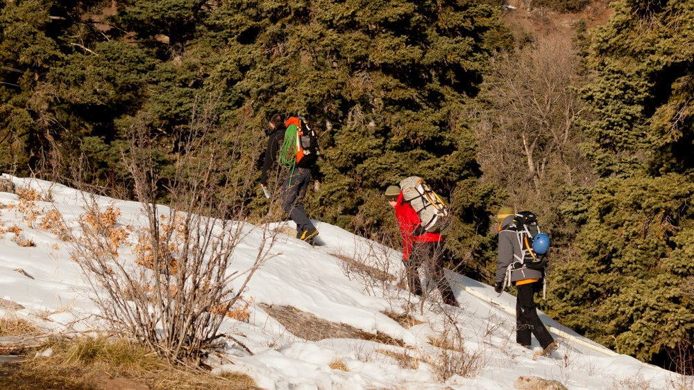 Ice climbers hiking up during Ouray's Ice Festival.