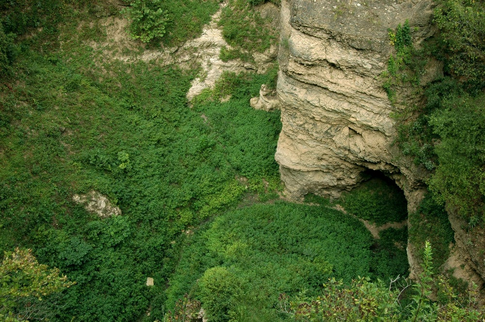 Aerial view of little grand canyon caves in missouri in Grand Gulf State Park.