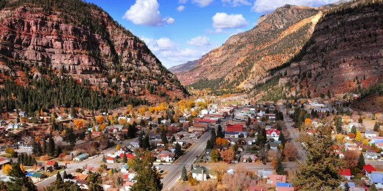 Aerial image of the town of Ouray.
