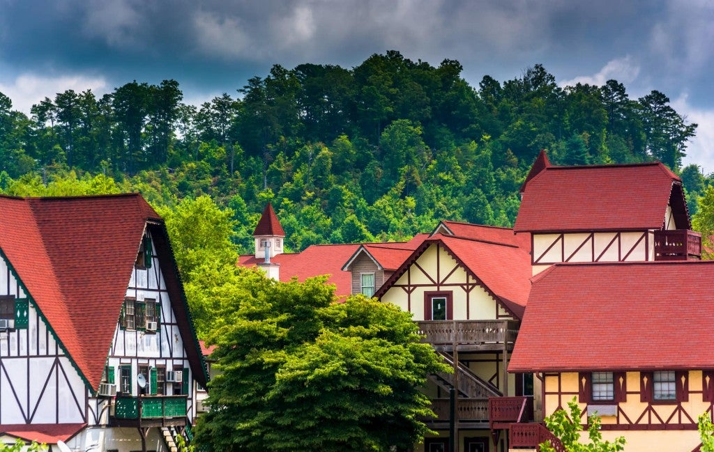 Panoramic view of Bavarian style houses in Helen, GA