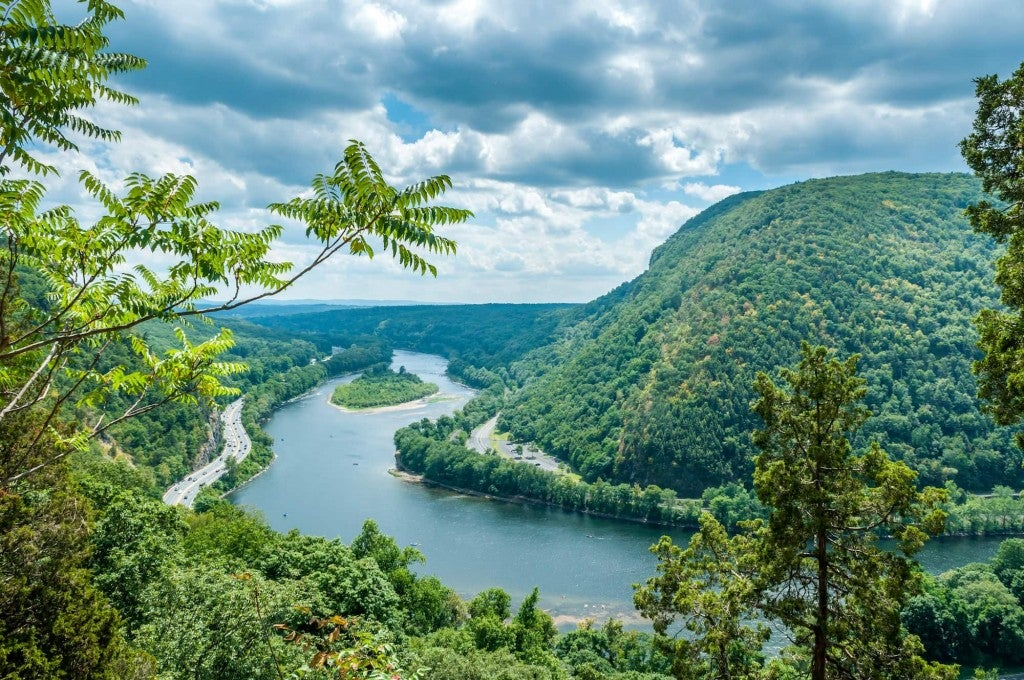 aerial view of tree-covered hills in the delaware water gap area
