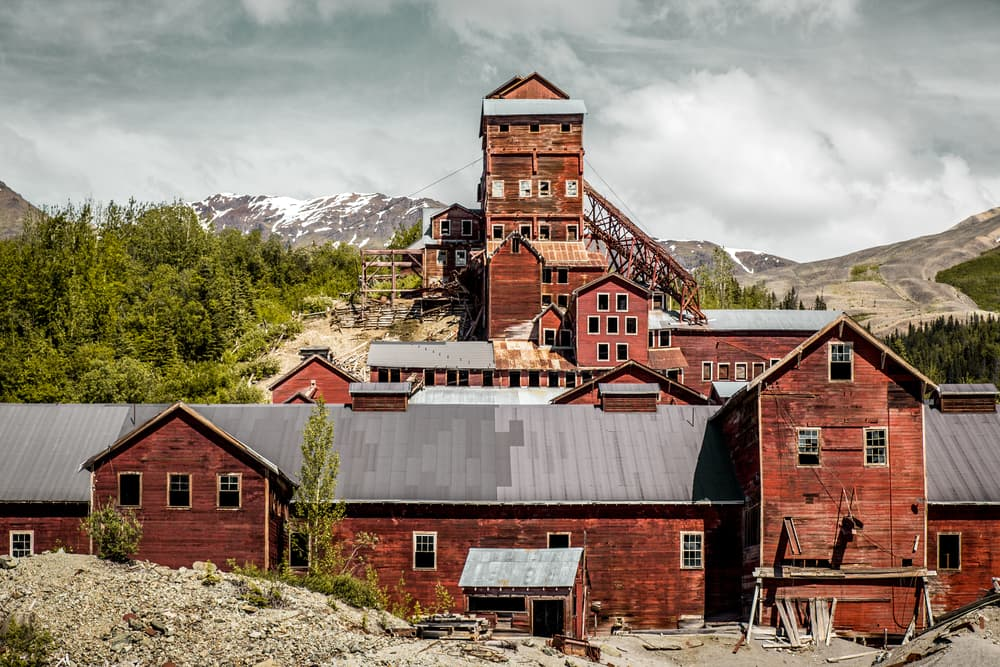 abandoned remnants of the Kennecott Copper processing mill building, at the former Kennecott Copper mine in Alaska