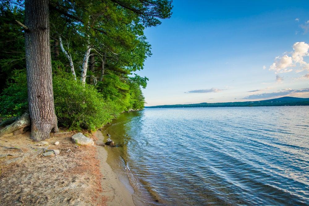 View of beach at a New Hampshire Lake