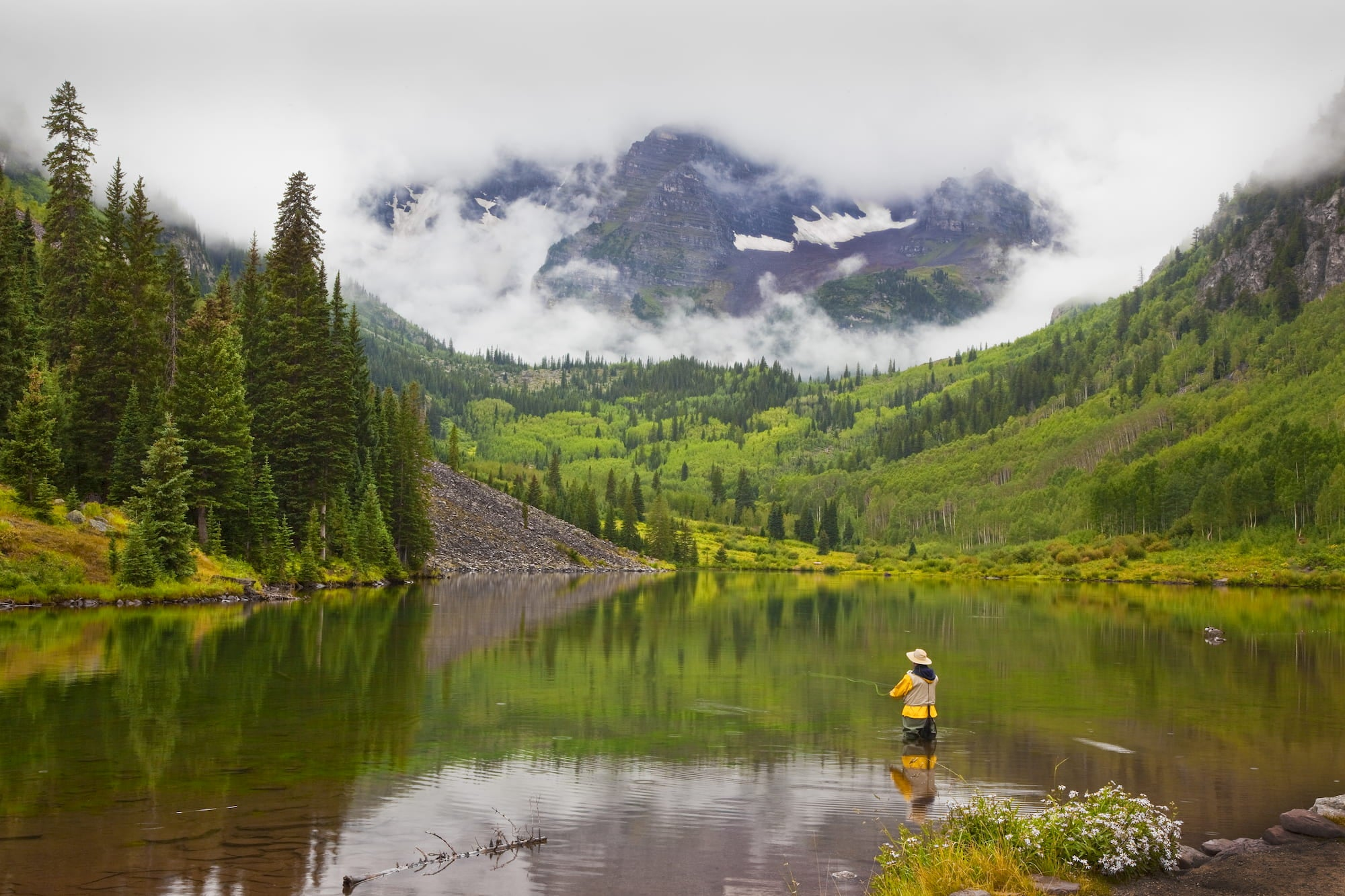 Fly fisher wading in a river below the Colorado rockies.