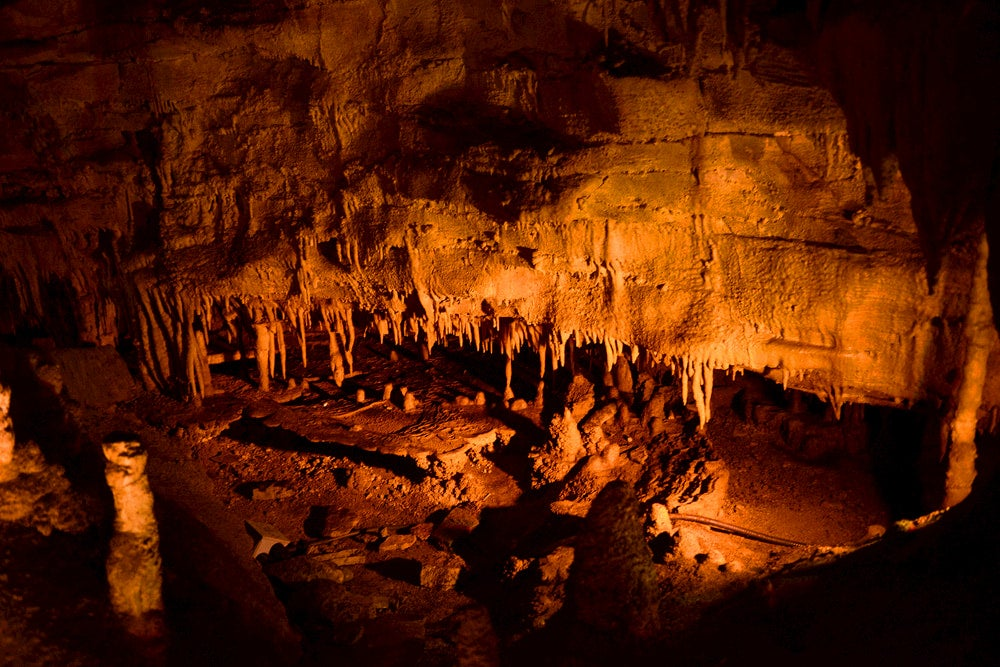 Lamplit inside of Mammoth Cave.