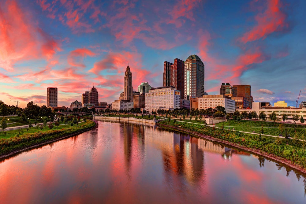 Panoramic view of Columbus, Ohio at sunset