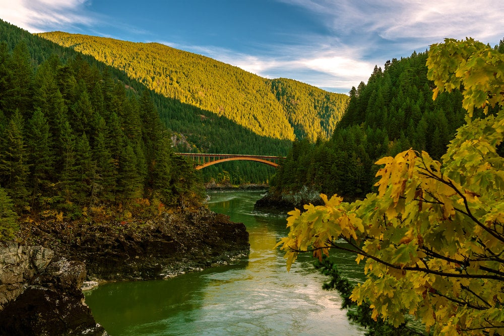 Green rolling hills with river and bridge over river