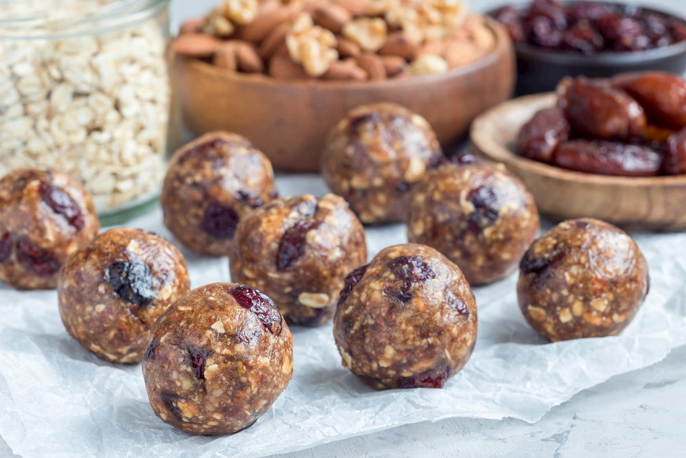 Protein spheres with cranberry and fig