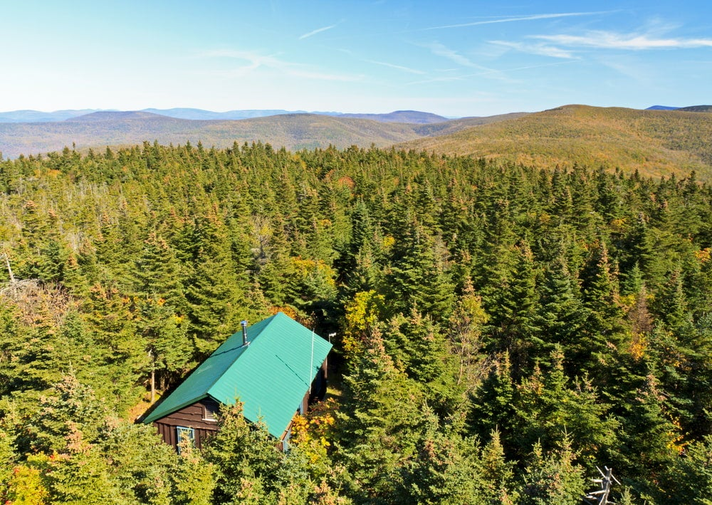 Landscape of the Balsam Lake Mountain Forest with a cabin.
