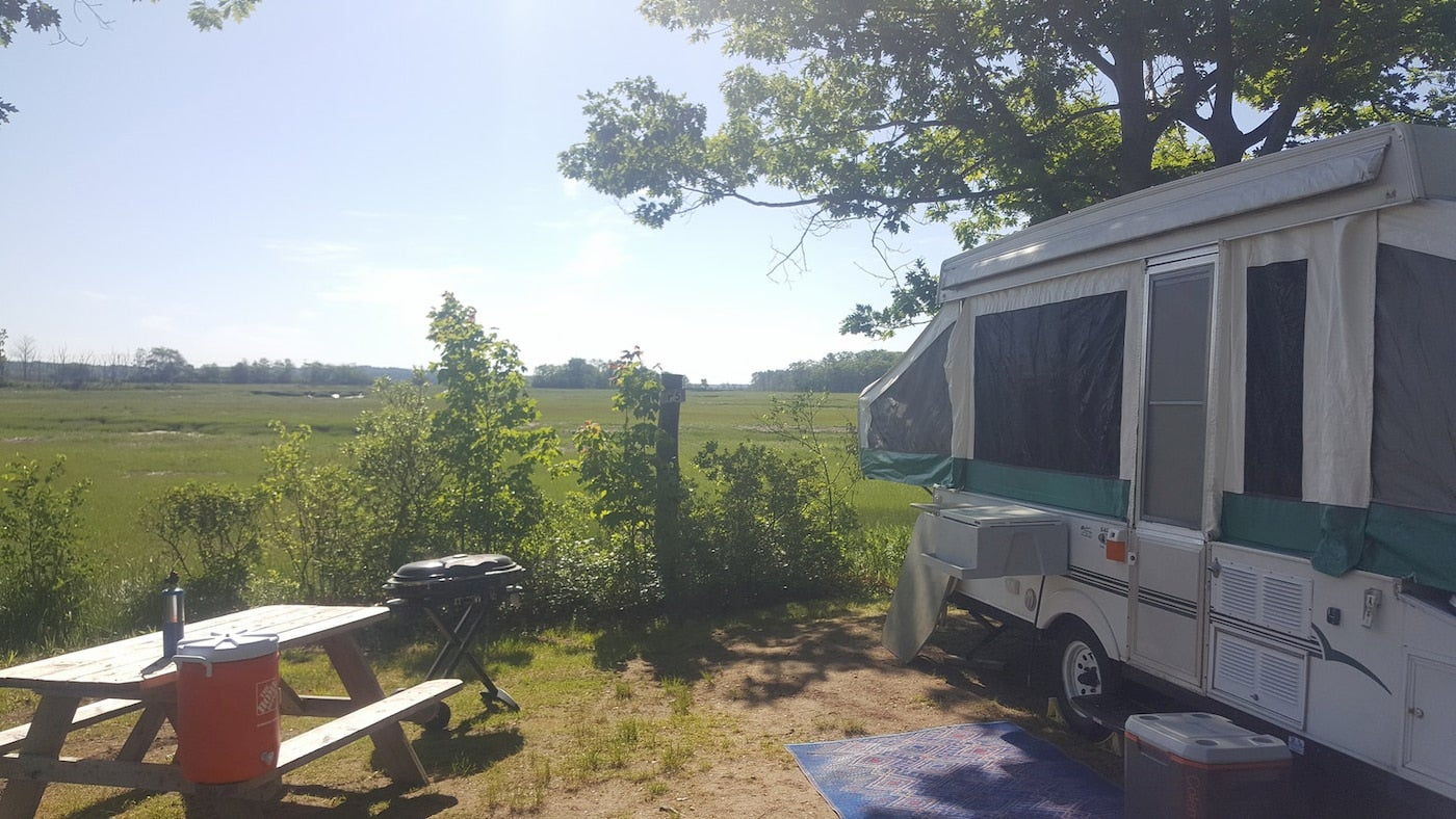 R.V. parked in campsite beside picnic table overlooking a marsh.