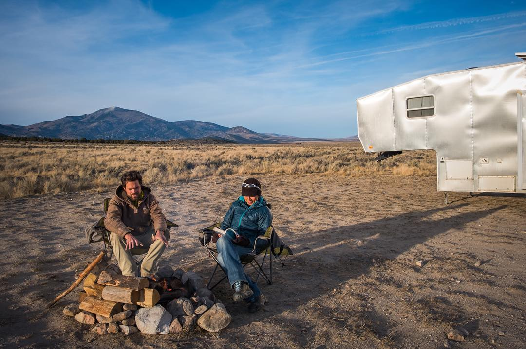 two campers living in their RV life on BLM desert land