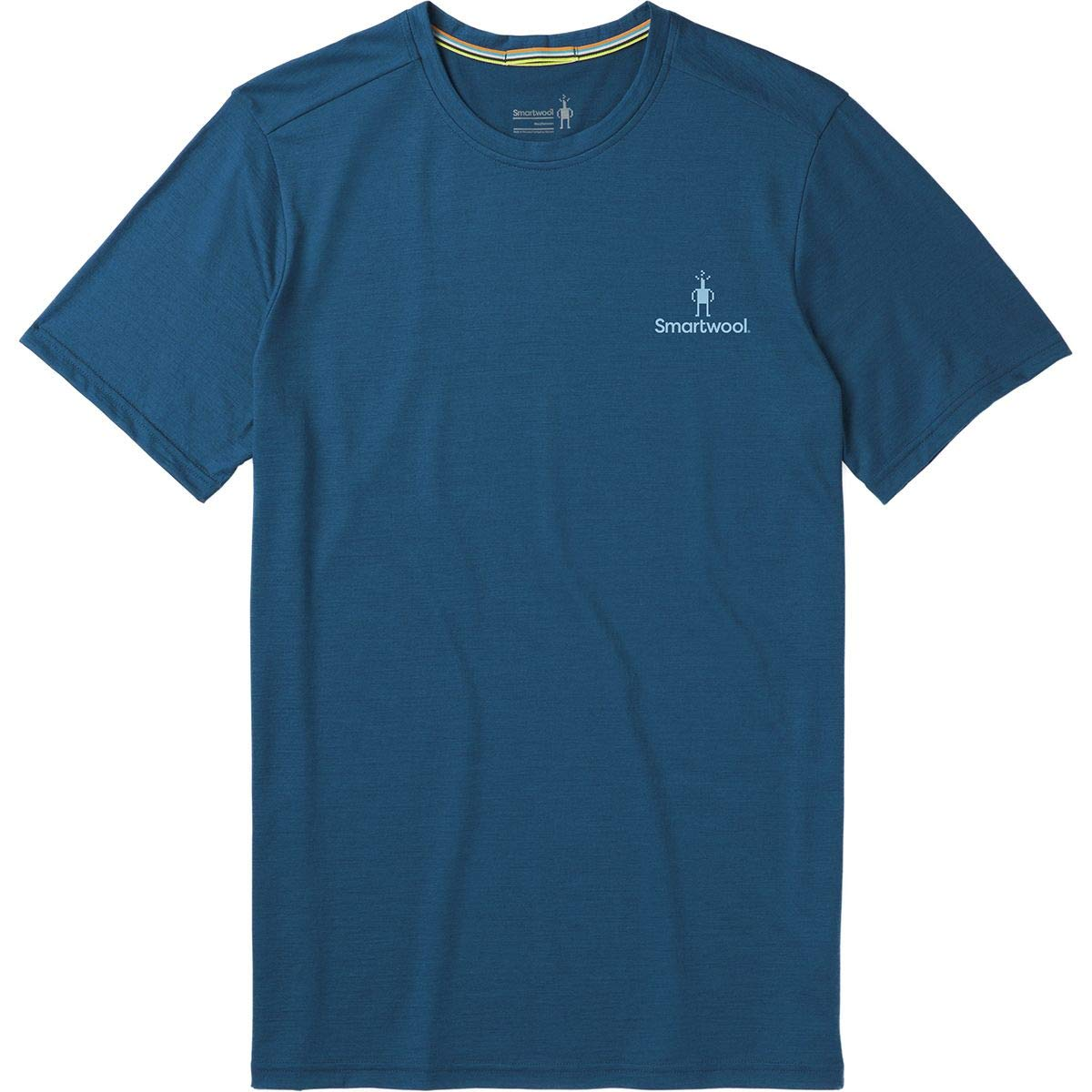 product image of a blue t shirt from smartwool on white background