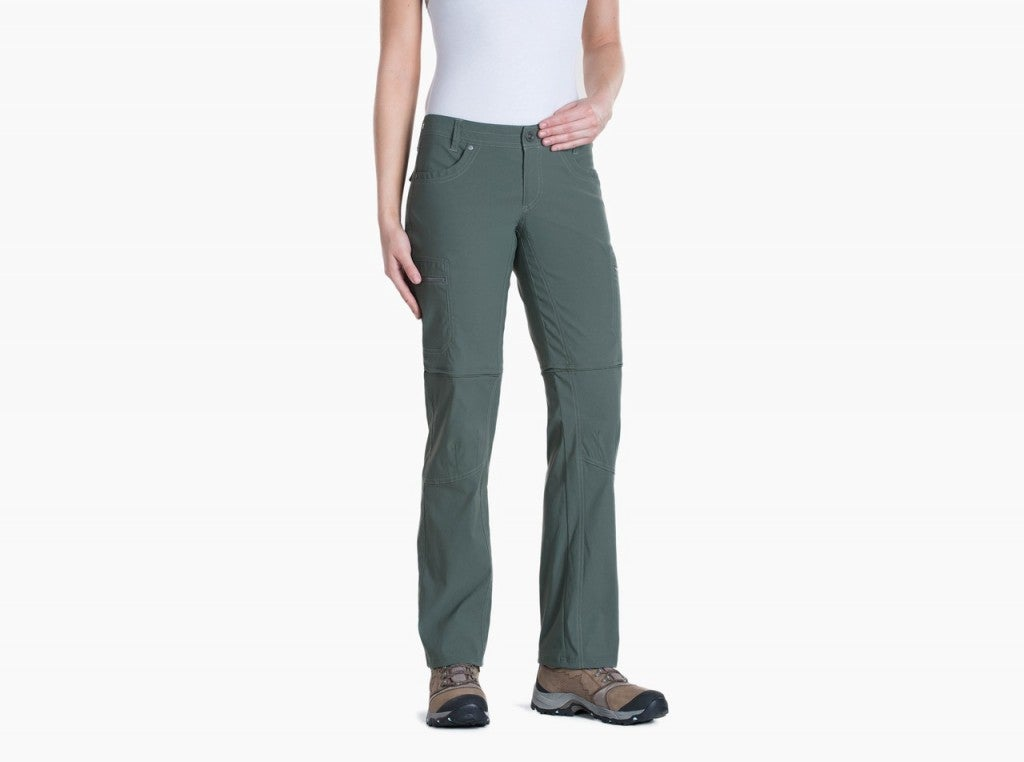 product image of a woman wearing a pair of convertable pants from kuhl