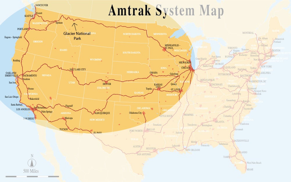US Amtrak System Map with routes to Glacier highlighted in a circle.