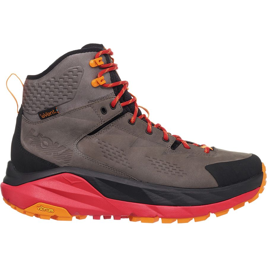 product image of a hoka one hiking boot with red soles