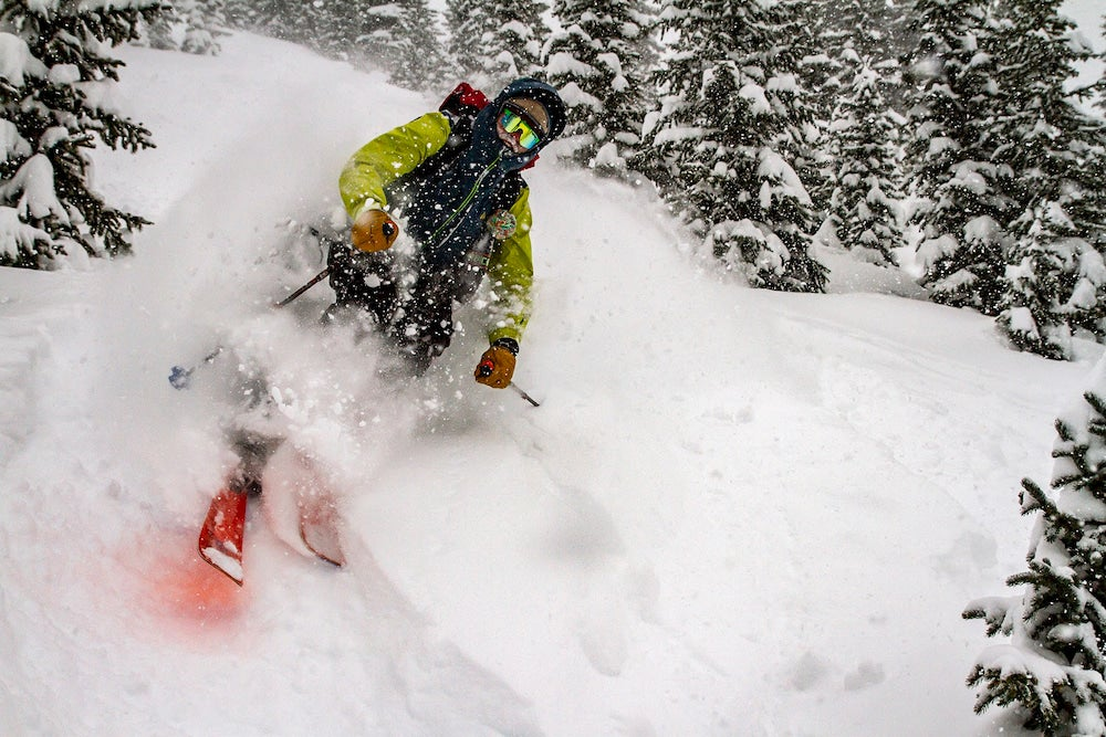 Skier riding through powder, surrounded by trees.