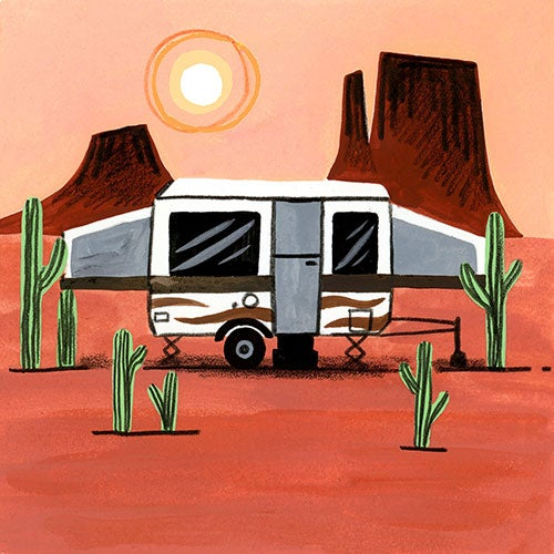 an illustration of a fold down camper trailer in the desert near cacti