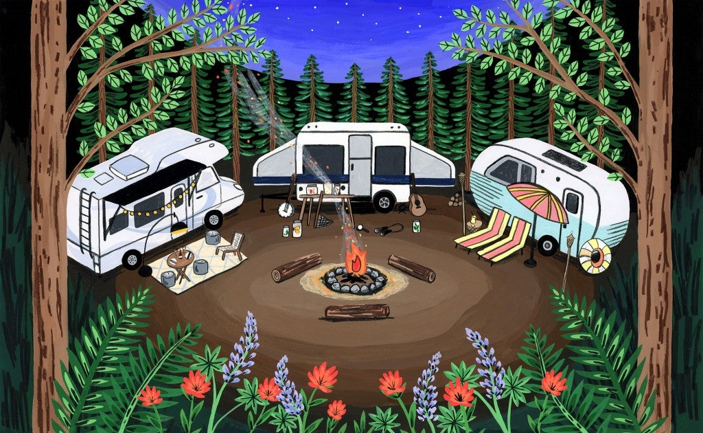 an illustration of a campground with 3 RVs in a forest at night
