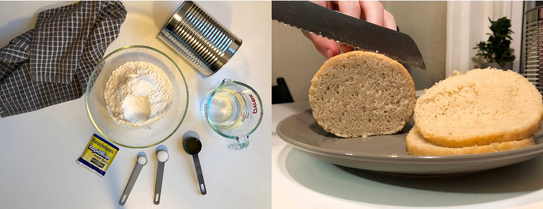 a picture of break making ingredients and a knife slicing bread into circles