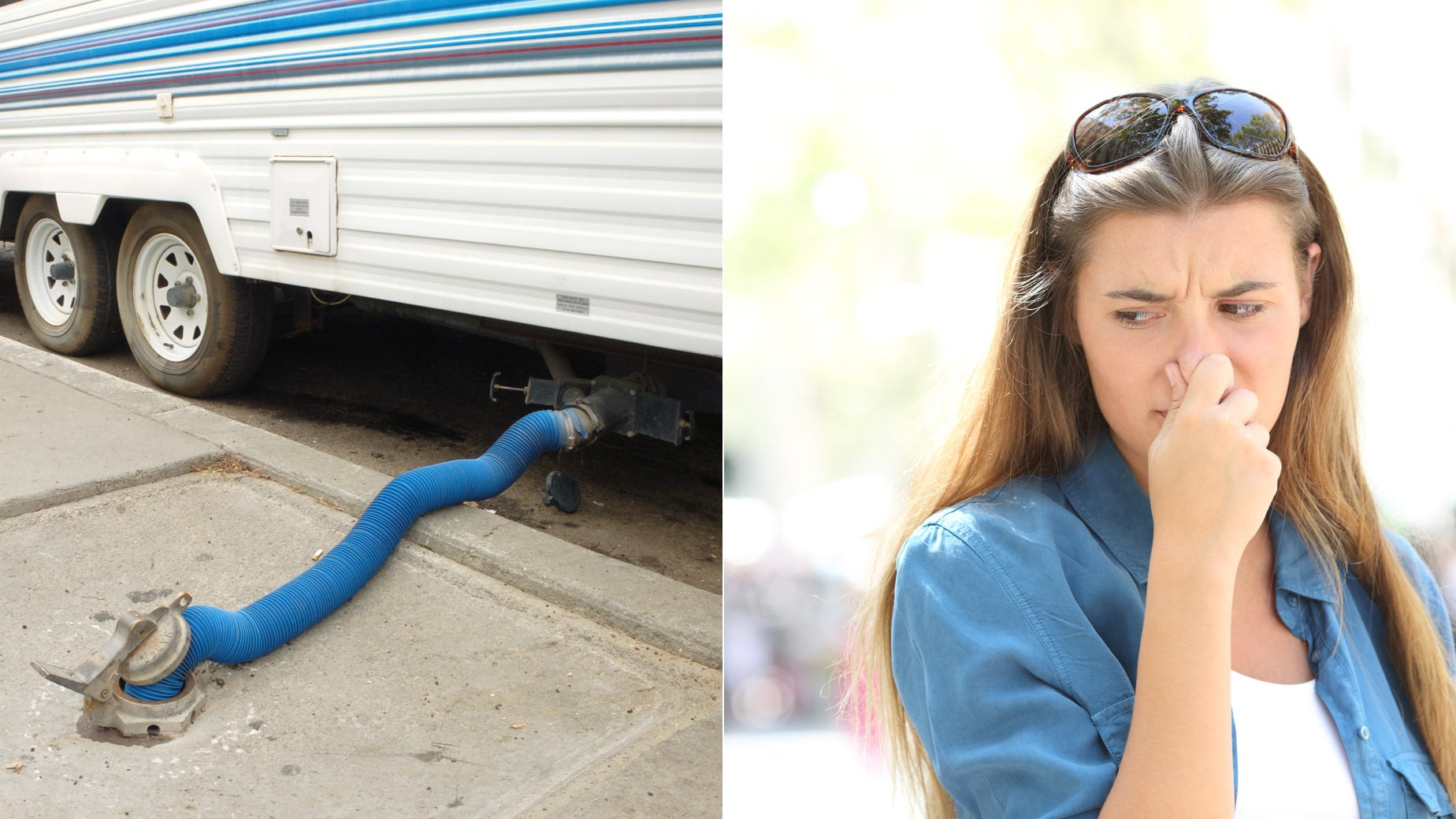 a woman holds her nose while draining a toilet tank in an RV