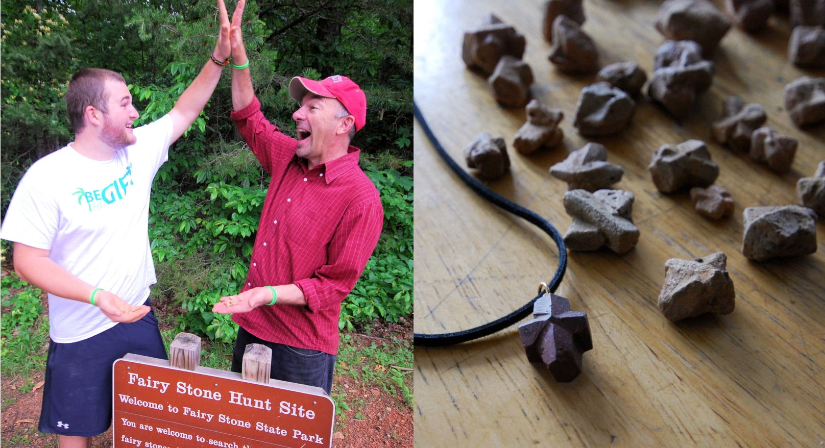 two men smiling and high fiving after collecting firy stones in fairy stone state park, next to an image of fairy stones