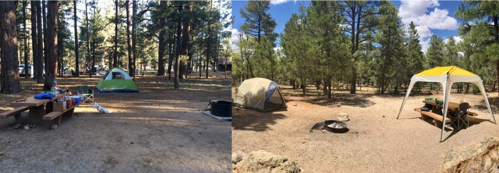 a split image of two campsites near the grand canyon