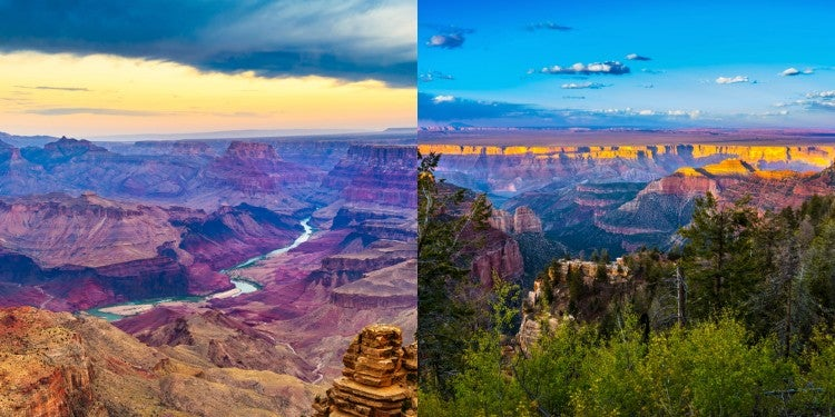 a split image of a view of the grand canyon north rim vs south rim side by side