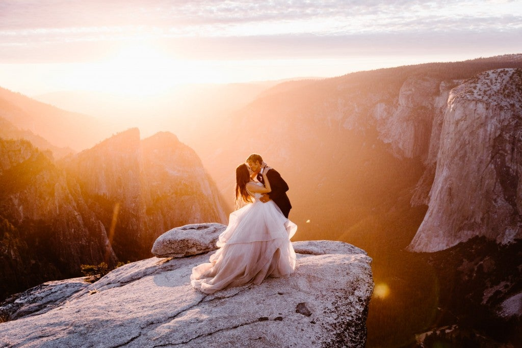 an adventure wedding photo of a bride and groom married on
