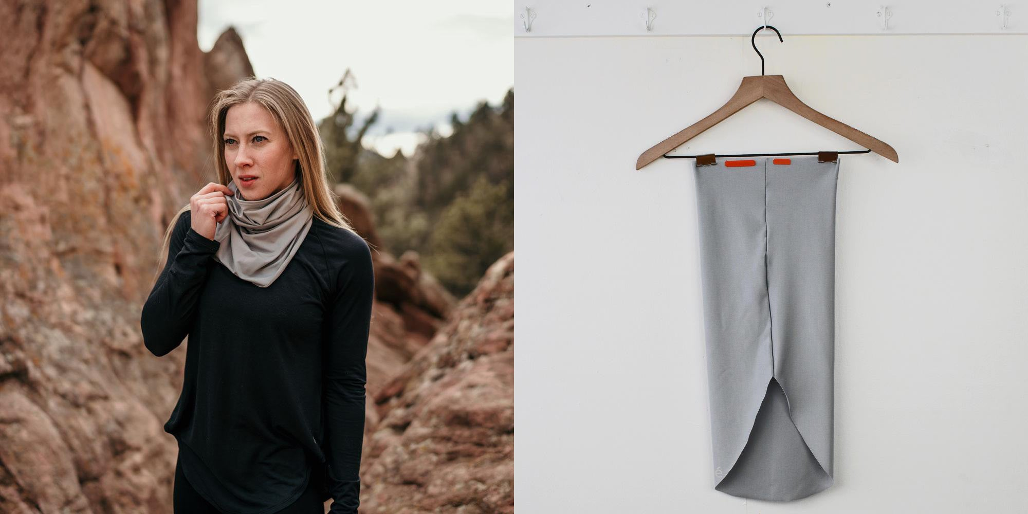 Left: Woman in nature with scarf. Right: Eclipse glove scarf