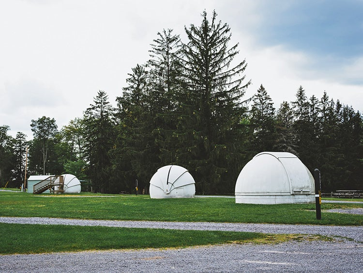 observation pods in the astronomy field in cherry springs state park