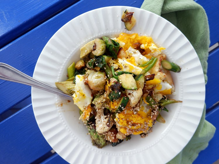 a keto meal of veggies and eggs eaten while camping
