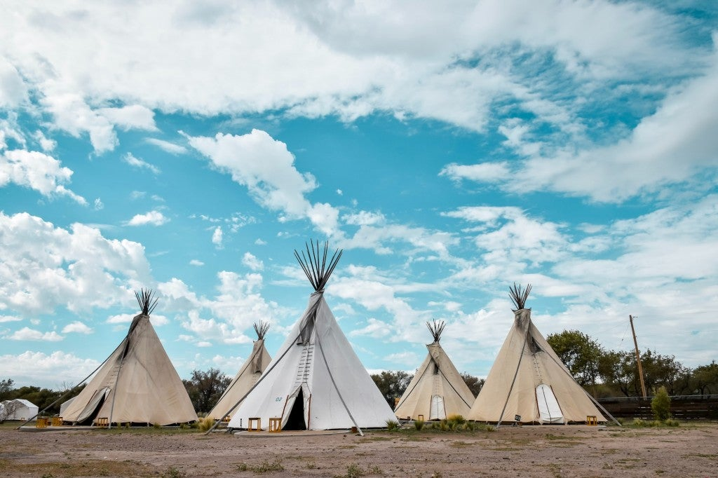 Glamping teepees at El Cosmico in Marfa.