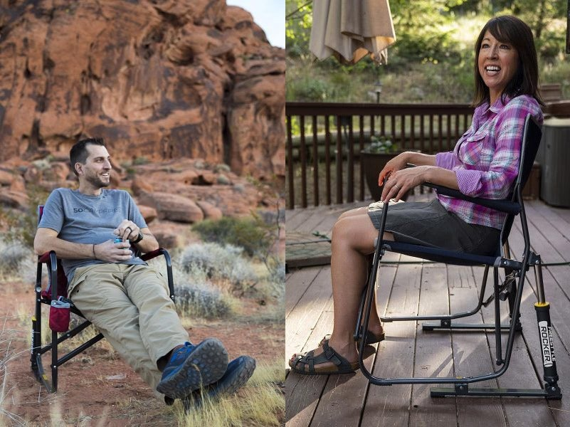 (left) man lounging in camp chair amongst desert red rocks (right) woman poses for photo in GCI pod rocker chair on outdoor deck